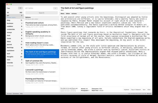Ein Screenshot aus dem Standard Notes Programm in der Browseransicht, das eine einfache Textnotiz zeigt.