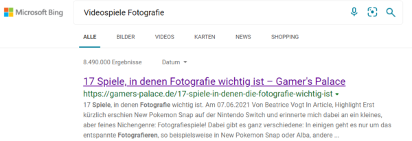 """Es wird die Suchmaschine Bing mit dem Suchbegriff """"Videospiele Fotografie"""" gezeigt. Der erste Treffer ist ein Artikel von gamers-palace.de."""