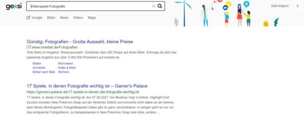 """Es wird die Suchmaschine gexsi mit dem Suchbegriff """"Videospiele Fotografie"""" gezeigt. Der erste Treffer ist ein Artikel von gamers-palace.de."""