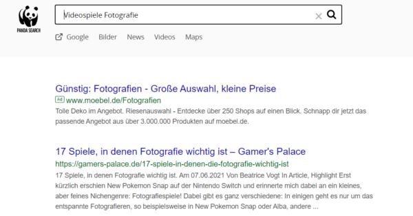 """Es wird die Suchmaschine Panda-Search mit dem Suchbegriff """"Videospiele Fotografie"""" gezeigt. Der erste Treffer ist ein Artikel von gamers-palace.de."""