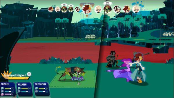 Gezeigt wird das Kampfsystem, in der Mitte ist ein Strich. Eine der Kämpfenden ist durch die Zeit gesprungen, um den Angreifer (links) zu besiegen.
