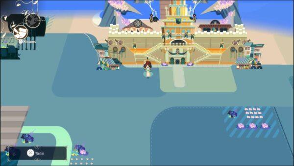 Gezeigt wird ein Blick auf die Karte. Crisbell, die Protagonistin, läuft quasi über eine große Fläche, auf der nur hin und wieder Orte sind, die sie besuchen kann. Retro.