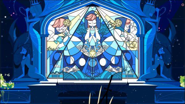 Das Bild zeigt ein blaues Fenstermosaik, das ein Mädchen mit roten Haaren in der Vergangenheit, der Gegenwart und der Zukunft zeigt und dabei zeigt, wie sie altert.