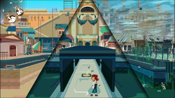 Der Bildschirm ist in drei Teile unterteilt: Die linke Seite zeigt die Vergangenheit der Stadt, die noch im Aufbau war. Die Mitte stellt die Gegenwart einer normalen Stadt da. Rechts wird die Zukunft der Stadt gezeigt, die überflutet ist.