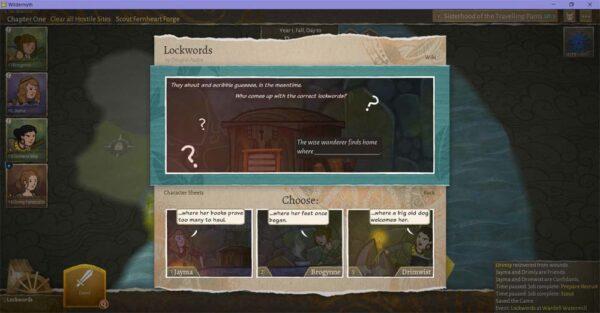 Im oberen Bereich des Bildes ist eine Szene, im unteren werden drei Optionen angezeigt, um sich für den weiteren Verlauf der Geschichte zu entscheiden.