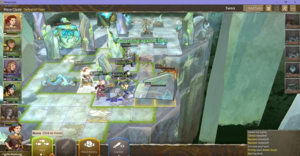 Ein Einblick in das rundenbasierte Kampfsystem, das an ein Brettspiel erinnert.