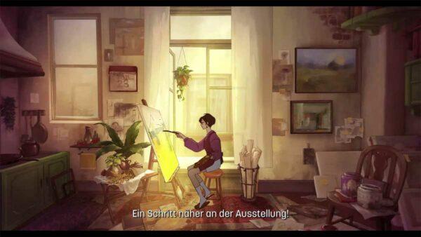 Zu sehen ist ein Zimmer im Morgenlicht. In der Mitte des Zimmers sitzt eine junge Frau in Rot, die an einem gelben Bild malt. Sie hält einen Pinsel in der Hand und sitzt vor einer Leinwand. Das Zimmer selbst sieht aus wie ein Atelier: Überall hängen Bilder.