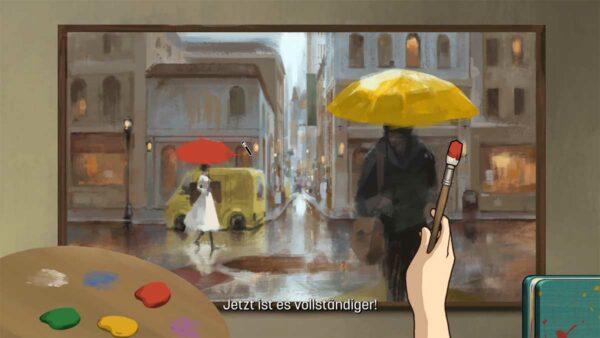 Dargestellt ist ein Bild, das mit Wasserfarben gemalt wurde. Auf der linken Seite des Bildes ist eine weiße Frau mit einem roten Regenschirm, im vorderen Bereich des Bildes ist ein dunkler Mann mit einem gelben Regenschirm zu sehen. Vor dem Bild ist eine Mischpalette mit Farben drauf und ein Pinsel, um das Bild zu vervollständigen.