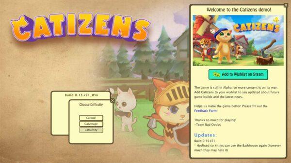 """Im oberen linken Bereich steht """"Catizens"""", links unten kann man zwischen den Schwierigkeitsstufen """"Catsual"""", """"Catverage"""" und """"Catlamity"""" wählen."""