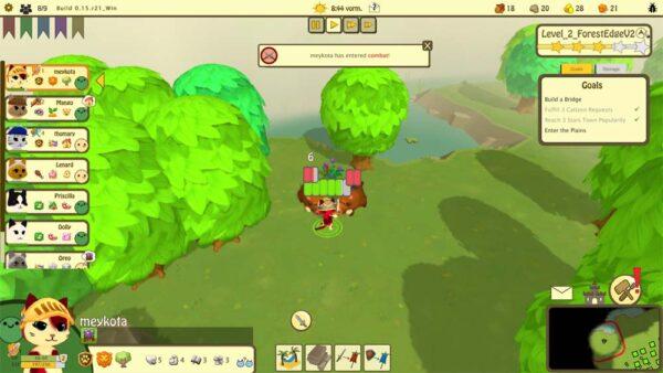 Im Wald kämpft eine Katze gegen zwei Wildschweine mit dem Schwert. Die Katze gewinnt.