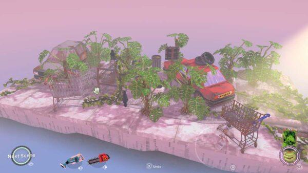 Auf dem Bild ist ein Parkplatz, der von grünen Pflanzen überwachsen ist. Im Hintergrund ist ein rotes Auto zu sehen, im Vordergrund stehen mehrere Einkaufswagen.