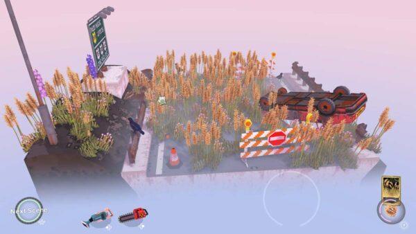 Ein Stück Straße wird gezeigt, der von Weizen überwuchert ist. Rechts steht ein Auto, das ebenfalls bewachsen ist.