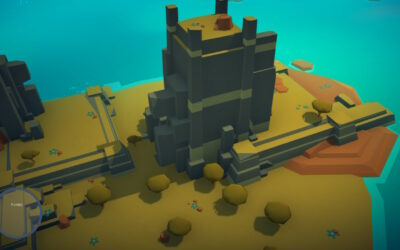 Zu sehen ist eine grüne Insel in einem blauen Meer. In der Mitte der Insel ist ein Steinplateau, das bebaut werden kann.