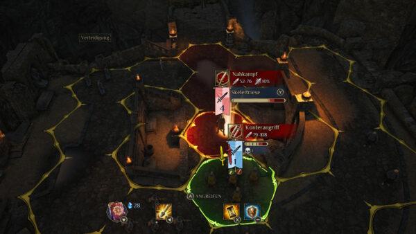 Der Screenshot zeigt einen Kampf aus King's Bounty II, in dem der Spieler gerade den Feind angreift.