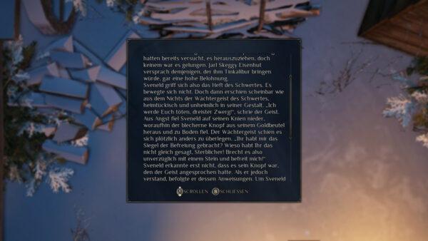 Der Screenshot zeigt einen langen Text im Spiel, der ziemlich verwaschen dargestellt wird und schwer zu lesen ist.