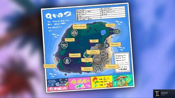 Dargestellt ist die Karte einer Insel, über die man zu den unterschiedlichen Orten der Insel reisen kann.