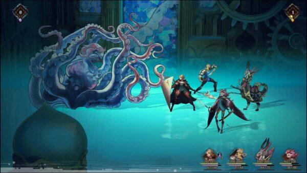 Auf der rechten Seite des Bildes stehen vier verschiedene Krieger, links ist ein großes Tentakelmonster, gegen das die Krieger kämpfen.