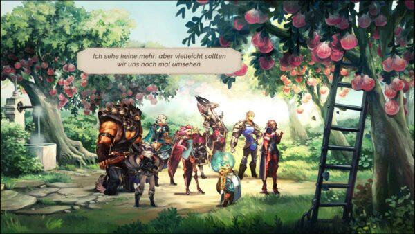 Zu sehen ist eine Gruppe Krieger, die auf einer Obstplantage stehen. Die Sonne scheint, es ist möglicherweise Frühling.