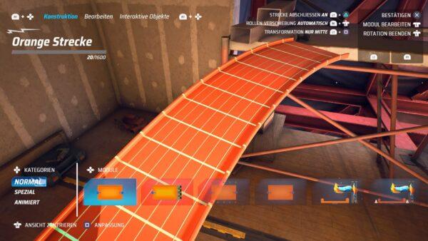Der Screenshot zeigt den Track Editor von Hot Wheels Unleashed. Es werden zwei Streckenstücke zusammengefügt.