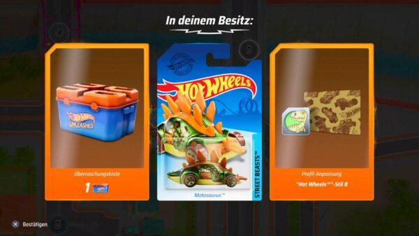 Der Screenshot zeigt Belohnungen nach einem Rennen: Eine Überraschungskiste, den Motosaurus als Fahrzeug und eine Profil Anpassung fürs Profil der Spieler:innen.