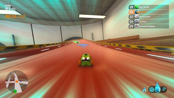 Der Screenshot zeigt Hot Wheels Unleashed in einer Szene auf der Strecke, in der der Turbo aktiv ist.