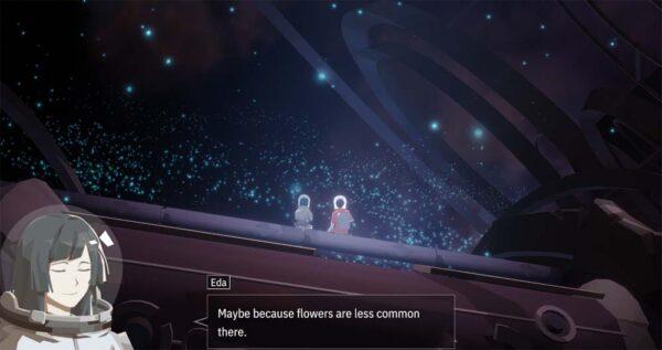 """Zu sehen sind zwei Menschen, die auf einem Metallstück sitzen. Um sie herum schweben grüne Lichter. Die Frau """"Eda"""" sagt: """"Maybe because flowers are less common there."""""""