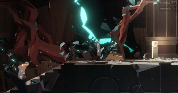 Auf dem Bild ist eine hell erleuchtete Höhle mit mechanischen Elementen zu sehen. In der Mitte steht ein junger Mann mit schwarzen Haaren. Links steigt ein alter Mann eine Treppe hinauf.