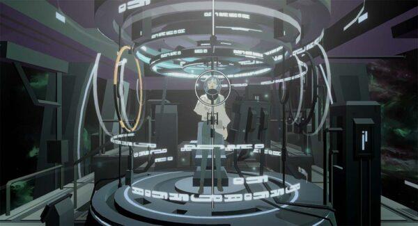Auf dem Bild ist in der Mitte eine junge Frau, die in einer blauen Maschine steht. Dort kann sie ihre Stimme aufnehmen.