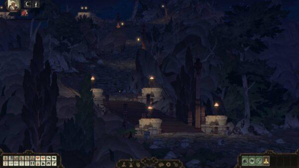 Die Spielfigur steht nachts am Fuße einer Treppe. An den Treppenstufen sind Laternen angebracht, die ein wenig Licht ins Dunkel bringen.