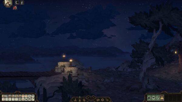 Zu sehen ist ein Nachthimmel, an dem Wolken und Sterne sind. Links sind zwei Laternen, die zu einer Holzbrücke führen.