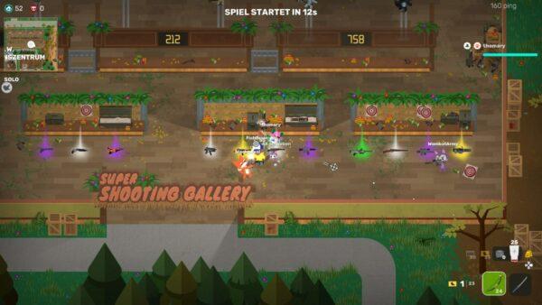 Auf dem Screenshot aus Super Animal Royale ist der Wartebereich zu sehen, in dem man unter anderem verschiedene Waffen ausprobieren kann.